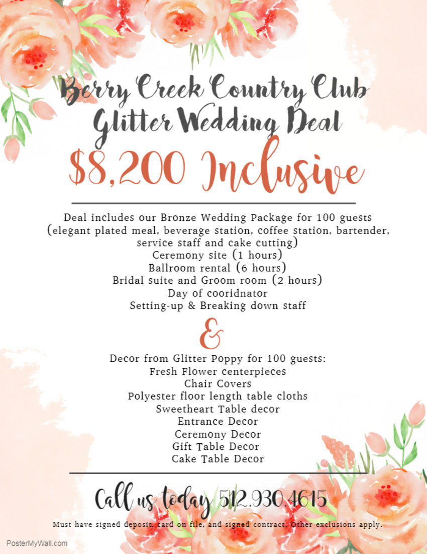 berry creek wedding specials